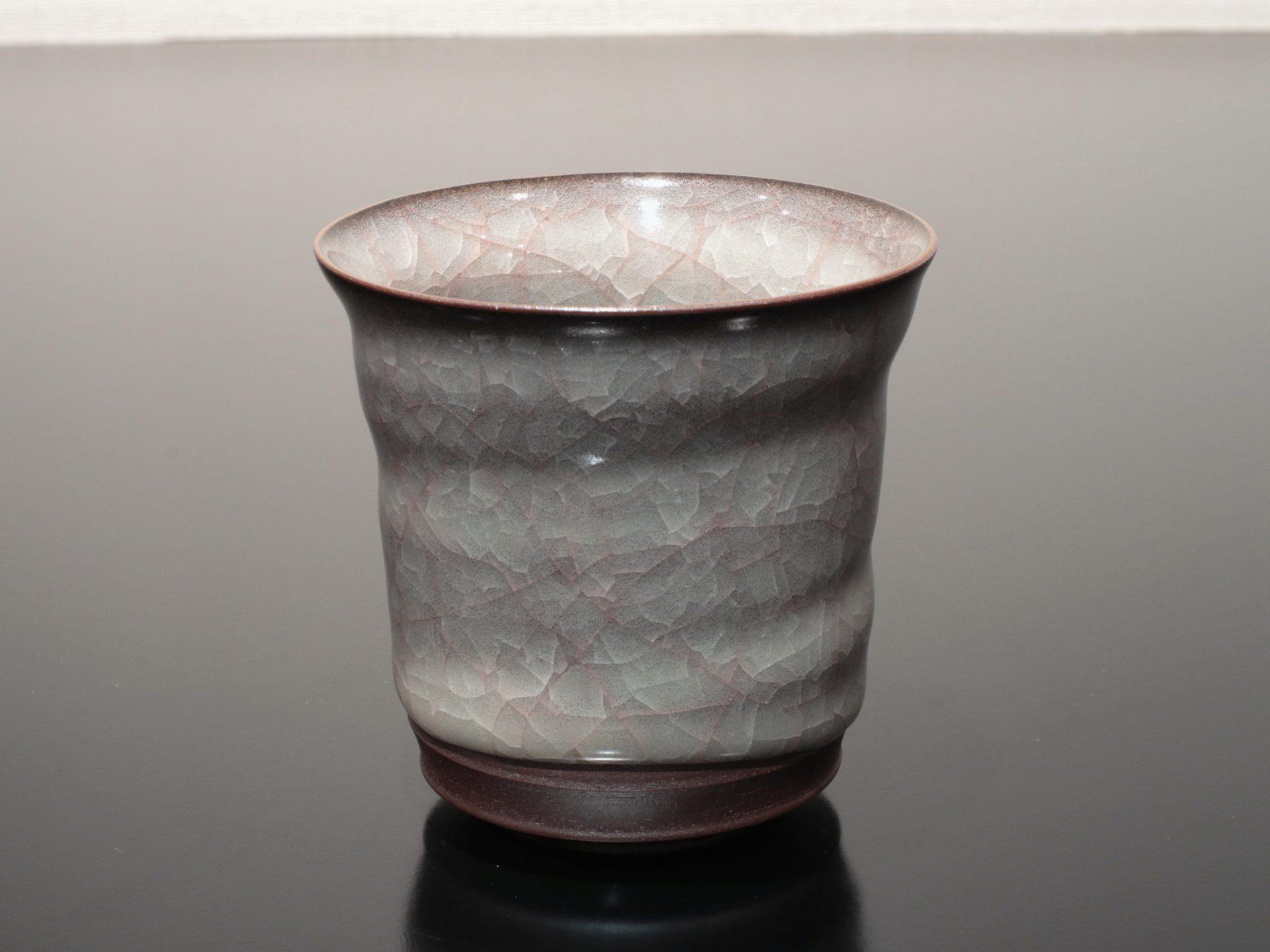 志賀暁吉 米色瓷湯呑 焼酎杯 カップ